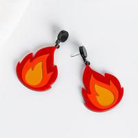 2019 творческий сладкий милый акриловый огонь пламя геометрические серьги для женщин девушки хип-хоп ночной клуб ну вечеринку ювелирные изделия Pendientes