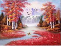 DIY 5d Diamant Malerei Vollkreis Diamant Fenglin Wasserfall Stickerei-Kreuz-Stich Strass Mosaik-Dekor Painting
