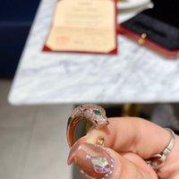 Anneau d'explosion de luxe européen et américain Bague 18 carats Neuf C Home Nail Rose Rose Bague en diamant Plein Léopard Ring1 avec boîte 03