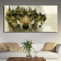 Canvas Wall Art Painting Abstract wolf Art Print Poster Wall...