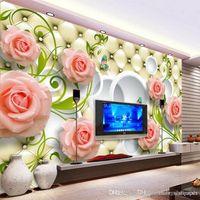 صور خلفيات رومانسية اللوحة الوردي مجسمة الورود زهرة رومانسية غرفة المعيشة ورق الحائط الفاخرة جدار جدارية