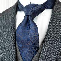 F21 بالجملة بيزلي الأزرق الداكن متعدد الألوان الرجال ربطات عنق 100٪ الحرير الجاكار المنسوجة البدلة هدية للرجال Acceossories جذاب