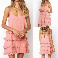Spaghetti Strap Ruffle refrigeram Vestidos Designer U-Neck Sexy Mulheres Camisola Moda roupas femininas Mulheres vestido do verão