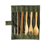 أدوات الياباني خشبي عشاء مجموعة أدوات المائدة مجموعة الخيزران شوكة سكين مع كيس من القماش مطبخ السفر نزهة التخييم في الهواء الطلق
