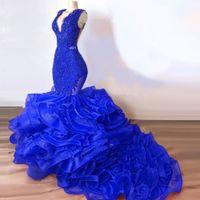 Luxe Royal Blue Dentelle Perled Mermaid Robes de bal 2020 Puffy Bottom Botground Long Bal Robe Sexy Fête Robe Vestido Formatha