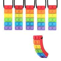 Silicone Teething Necklace Rainbow Brick Chew Pendant Sensor...