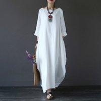 Faylisvow Plus Size Verão Maxi Vestido Baggy 3/4 Batwing luva de algodão Linho vestidos longos Casual Bohemia Long Robe vestido 4XL 5XL MX200518
