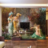 2019 New Wallpapers photo 3D Retro Custom European Oil Paint...
