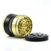 DHL New tabac Grinder 4 pièces 50 mm 55mm 63mm Set moulins à fumer métal receveur de presse de pollen d'alliage de zinc aluminium