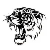 14.5 * 14.5 سم عاكس ملصق سيارة الشارات TIGER رئيس هود من السيارات والدراجات النارية جانب ملصقات السيارات ستيلر أسود / فضي CA1003