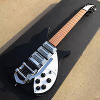 Custom John Lennon Short Scale Lengte 527mm 6 String Zwart 325 Elektrische Gitaar Bigs Tremolo Bridge, Gloss Paint Fingerboard