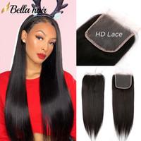 """HD أعلى الدانتيل إغلاق 4 * 4 100٪ البرازيلي بيرو الهندي الماليزية العذراء الإغلاق الشعر البشري 8 """"-22"""" حريري مستقيم الشعر اللون الطبيعي"""
