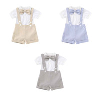 Мальчик Sling сиамского Наборы Детская дизайнерская одежда Baby Boy Bow Сплошные цвета с коротким рукавом Короткие штаны наборы DHL FJ462