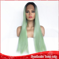 Free Shipping Light Green Long Straight Hair Cosplay Wigs Om...