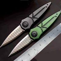 lâmina de aço NOVO D2 MD CNC verde 6061 alça de alumínio aço de Damasco faca tático automática Frete grátis