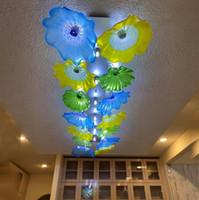 Français style soufflé bouche en verre Lustre Éclairages Big Plafonnier décoratif verre soufflé fleur Lampes de plafond pour le salon