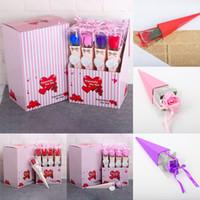 Sevgililer Günü Düğün DHL WX9-1771 için plastik kutu ambalaj Kurdele Romantik Sabun Çiçek ile 12pcs / lot Yapay Çiçekler Sabun Gül