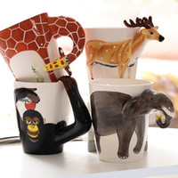 Seramik Hayvan Kupa Kahve Süt Çay Kupalar Hayvanlar Şekil El Boyalı Geyik Zürafa İnek Tavşan Köpek Fil Kupaları LXL773-1