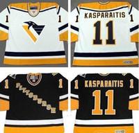 Personalizado 11 DARIUS KASPARAITIS Pittsburgh Penguins Jersey 1998 Vintage CCM Preto Branco Casa Camisas De Hóquei Ordem Da Mistura