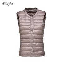 Fitaylor New Ultra Leves 90% pato branco para baixo Mulheres Vest Brasão Mulheres Duck Down mangas Jacket Rodada Outono-Inverno casaco de gola