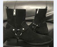 من جلد الغزال جلد طبيعي هاري وايت أحذية سحر جديد قائمة إسفين SLP أزياء الرجال الكلاسيكية الكاحل حزام أسود الدنيم الأحذية persional