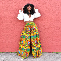 African Clothes Ladies Dashiki Print Trousers Wide Legs Brit...