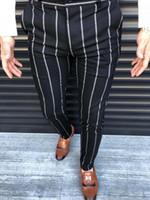 2019 Fashion Business Calças Homens Casual Slim Fit magro modelos terno formal Vestidos Calças Calças Calças Novas Stripes Calças