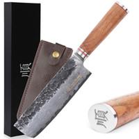 Sunlong 6,5-Zoll-VG10 67 Schichten gehämmert Damaskus Nakiri Messer Japanisches Gemüsekochmesser gerade Walnussholz Griff