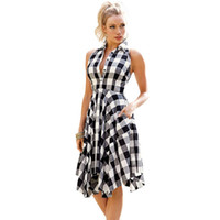 Checks Flared Plaid Shirtdress Explosions Leisure Vintage Dr...