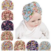 Ins baby meisjes tulband knoop hoofd wraps pasgeboren baby hoed bloem hoofddeksels bohemien peuter kinderen bal knoop donuts florals muts koop D3508