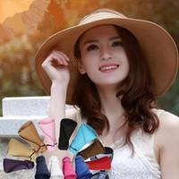 Складные соломенные шляпы открытый пляжный шапок питьевой большой гибкой визуализации пустые вершины Boho широкие Breim Hats Roll Up мода летние солнечные колпачки DYP917