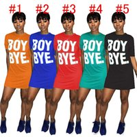 Frauen-Sommer-Röcke T-Shirt Miniröcke Solid Color Boy Bye beschriften das gedruckte kurze Hülsen-Kleid-reizvolle Nachtclub-Kleid D6906