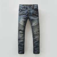 Mens New Fashion Jeans Hommes Hip Hop Distressed Zipper Jeans Ripped Retro Casual Pants Bleu Taille 28-40