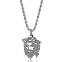 Uomini Collane Gioielli Street Fashion Luxury Bling Zirconia Platinum 18K placcato oro Gesù Cristo ciondolo hip hop collana