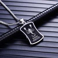12 constellation collier en argent des hommes de chaînes pendentifs en acier inoxydable accessoires pour homme, bijoux collier chaîne en or sur le cou