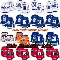 Crianças Jerseys de Hóquei Toronto Maple Leafs Montreal Canadiens Vancouver Canads Canads Edmonton Oilers 97 Connor McDavid 91 Tavares