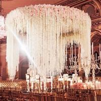 1m longos flores de seda artificiais wisteria videira rattan 19 cores falsificador mesa de mesa de mesa Centerpieces casamento decoração jardim parede flor