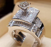 White Gold Dazzling Silver Jewelry White Zircon Ring Bride W...