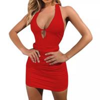Kadınların Seksi Kulübü Elbiseler için yeni yazlık elbise elbise 3 Renkler ile Sıkı Kolsuz Halter İnce Mini Elbise