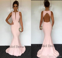 Pink Mermaid Evening Dresses 2018 Keyhole Open Back Floor Le...