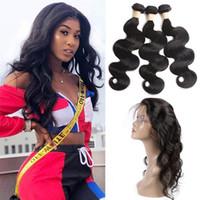 Peruano Human Hair 3 pacotes com 360 laço frontal livre pré-arrancado corporal onda de ondas de cabelo extensões com 360 frontal 8-30 polegadas