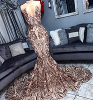 Sexy Halter Backless Rose Gold Sequin Mermaid Prom Dresses 2...