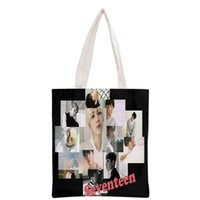 New arrived custom KPOP Seventeen printed canvas tote bag wo...
