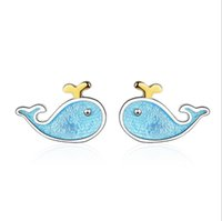 Wholesale dolphin gifts for girls online - Fashion Blue Whale Silver Plated  Earrings Sweet Dolphin Little 9aaa388c03f2