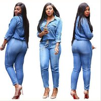 Neuer Frauen-reizvolle beiläufige lose lange Hülsen-Denim-Overall Jeans Overall Pants Plus Size