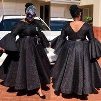 Вечерние платья полный рукава vestido Лонго халат де вечер abendkleider кружева бальное платье Пром платье длинные плюс размер маленький черный коктейльное платье