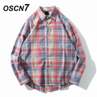OSCN7 2019 Casual Plaid Long Sleeve Shirt Men Streetwear Sum...