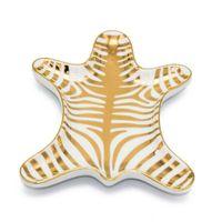 1PCS cerámica cebra plato Forma placas joyería cuencos de helado Decoración Artesanía Snack-Bandeja de almacenamiento caramelo bocado del plato