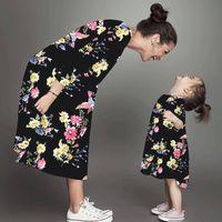 Мать дочери платья цветочные длинные рукава платье мать дочь одежда мама и дочери платье семьи подходит одежда ljjk1846