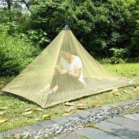 2 개 색상 2.2 * 1.2m의 싱글 레이어 모기장 텐트 야외 캠핑 휴대용 메쉬 텐트 피라미드 모양 텐트 정원 장식 CCA11515의 10PCS